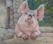Pig Pastels Framed Prints - Piggin Beautiful Framed Print by Anne Smart