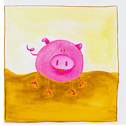 Red Pig Posters - Piggly Wiggly Poster by Esteban Studio