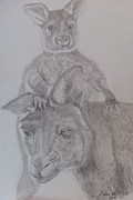 Animal Art Drawings Originals - Piggyback Ride by Melissa Nankervis