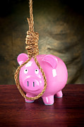 Financial Failure Prints - Piggybank and noose Print by Joe Belanger