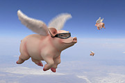 Pig Digital Art Posters - Pigs Fly 1 Poster by Mike McGlothlen