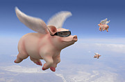 Pig Digital Art Posters - Pigs Fly Poster by Mike McGlothlen