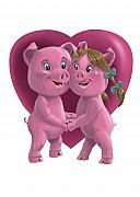Engaged Digital Art Framed Prints - Pigs In Love Framed Print by Martin Davey