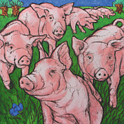 Pig Prints Paintings - Pigs in meadow by Raymond Van den Berg