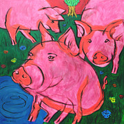 Pig Prints Paintings - Pigs in the meadow by Raymond Van den Berg