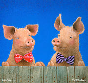 Pig Paintings - pigs ties... by Will Bullas by Will Bullas