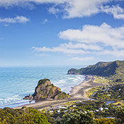 Auckland Framed Prints - Piha and Lion Rock New Zealand Framed Print by Colin and Linda McKie