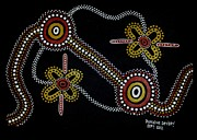 Aboriginal Art Paintings - Pikanninnie Hunting by Darlene Devery