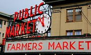 Pike Place Farmers Market Sign Print by Marcia Fontes Photography