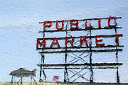 Red Sky Mixed Media Posters - Pike Place Market Poster by Linda Woods