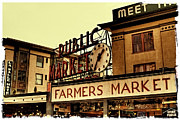 Shoppers Prints - Pike Place Market - Seattle Washington Print by David Patterson
