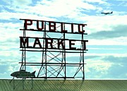 Fishmongers Posters - Pike Place Market Sign 2 Poster by Allen Beatty