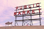 Fishmongers Prints - Pike Place Market Sign 3 Print by Allen Beatty