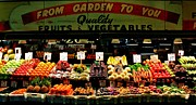 Fruit Stand Framed Prints - Pikes Market Fruit Stand Framed Print by Benjamin Yeager