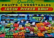 Fruit Stand Framed Prints - Pikes Place Fruit Stand Framed Print by Benjamin Yeager