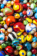Play Playing Hobbies Collection Collecting Balls Prints - Pile of marbles Print by Garry Gay