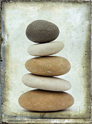 Pebbles Metal Prints - Pile of pebbles Metal Print by Bernard Jaubert