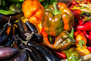 Green Grocer Prints - Pile of Peppers Print by Susan Colby
