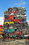 Junkyard Posters - Pile of scrap cars on a wrecking yard Poster by Matthias Hauser