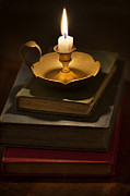 Candle Lit Prints - Pile Of Vintage Books By Candle Light Print by Lee Avison