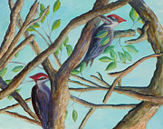 Woodpeckers Paintings - Pileated Woodpeckers by Patty Weeks