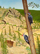 Woodpeckers Paintings - Pileateds of Lion Creek by Joann Wilber