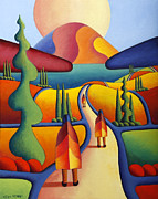 With Prayer Paintings - Pilgrimage To The Sacred Mountain With 3 Figures  by Alan Kenny