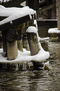 Winter Storm Prints - Pilings After Nemo Print by Deborah Smolinske
