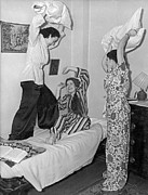Pajamas Prints - Pillow Fight At Columbia Print by Underwood Archives