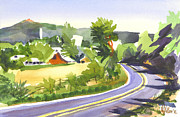 Red Barn Paintings - Pilot Knob Mountain out JJ by Kip DeVore