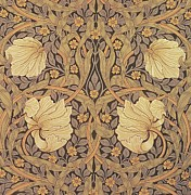 Motif Tapestries - Textiles Posters - Pimpernel wallpaper design Poster by William Morris