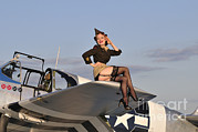 Full Skirt Photos - Pin-up Girl Sitting On The Wing by Christian Kieffer