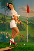 Pinup Posters - Pin-up Golf Lady Poster by Glenn Specht