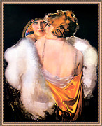 Pin Up Posters - Pin Up in a Backless Gown Poster by Rolf Armstrong