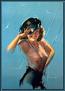 Sailors Prints - Pin Up In A Sailors Uniform Print by Rolf Armstrong