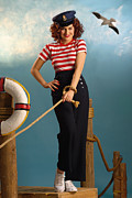 Pin-up Posters - Pin-up Sailor Lady Poster by Glenn Specht