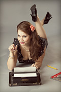 Underwood Typewriter Posters - Pin-up Ten Poster by Brian Mollenkopf