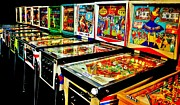 Vintage Video Game Framed Prints - Pinball Alley Framed Print by Benjamin Yeager