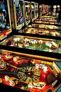 Games Room Framed Prints - Pinball Arcade Framed Print by Benjamin Yeager