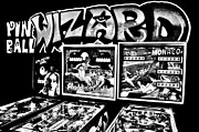 Man Cave Photo Framed Prints - Pinball Wizard Black And White Framed Print by Benjamin Yeager