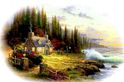 Kinkade Prints - Pine Cove Cottage  Print by Thomas Kinkade