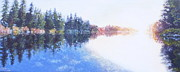 Wa Paintings - Pine Lake Reflection by Charles Smith