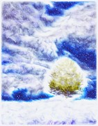 Snowstorm Digital Art Posters - Pine Tree in Winter Poster by Lilia D