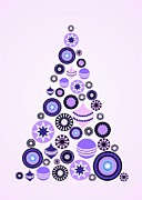 Christmas Star Mixed Media Posters - Pine Tree Ornaments - Purple Poster by Anastasiya Malakhova