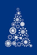Snowflake Mixed Media Posters - Pine Tree Snowflakes - Dark Blue Poster by Anastasiya Malakhova