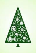 Snowflake Mixed Media Posters - Pine Tree Snowflakes - Green Poster by Anastasiya Malakhova