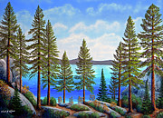 Gouache Painting Originals - Pine Woods Lake Tahoe by Frank Wilson
