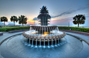 Palmetto Trees Posters - Pineapple Fountain at Waterfront Park Poster by Walt  Baker