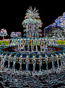 Fountain Digital Art Photos - Pineapple Fountain - Neon Night by Carol Groenen