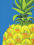 Close Up Painting Metal Prints - Pineapple Metal Print by Laura Dozor